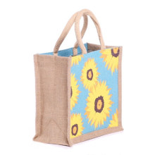 2020 Customize Logo Eco-Friendly Full Flower Printing Hemp Handle Jute Tote Shopping Bag for Grocery
