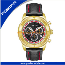 High Quality Golden Sporty Watch Customized Stainelss Steel Chronograph Men′s Swiss Quaity Watch