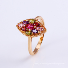 11796 Anillo de dedo colorido de la joyería del zircon de la flor plateado oro 18k popular en la aleación de cobre