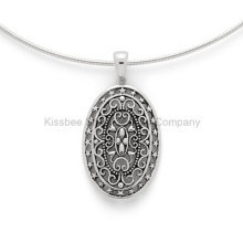 925 Sterling Silver Set Jewelry Antique Pendant Vintage Style (KP3009)