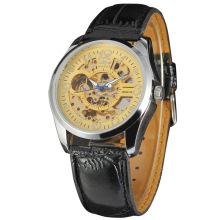 winner vintage men mechanical watch with skeleton design