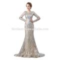 2018 горячий продавать блестками пром платье OEM дизайн с длинным рукавом мусульманских вечернее платье