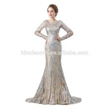 Vestido de fiesta de lentejuelas de venta caliente 2018 Vestido de fiesta musulmán de manga larga de diseño OEM