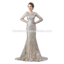 2018 hot sell sequins prom dress OEM design long sleeve muslim evening dress