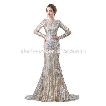2018 vente chaude paillettes robe de bal OEM conception à manches longues robe de soirée musulmane