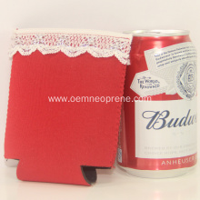 Red neoprene cooler sleeve with lace