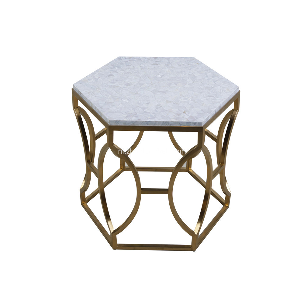 CANOSA Chinese zoetwater shell thee tafel met gouden RVS thee tafel