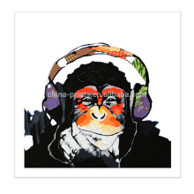 Decoração da parede Arte animal da pintura do macaco na cópia da lona para a sala de visitas
