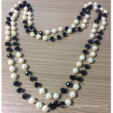 Double Necklace with White Pearl and Black Glass