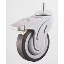 Plastic medical caster wheel thread stem brake
