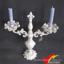 Luckywind Vintage Antique White Iron Candelabras