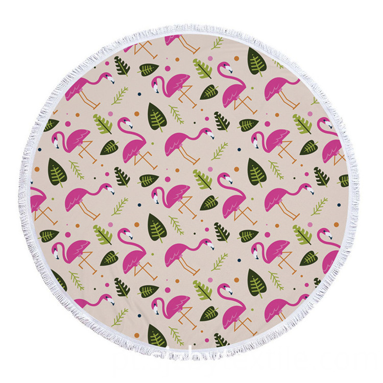 Flamingo Round Terry Lightweight Version Beach Towels