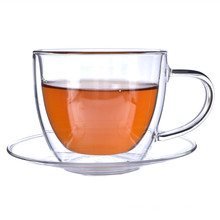 Amazon Hot Selling Double Wall Borosilicate Glass Cappuccino Coffee Espresso Tea Cups And Saucers Sets