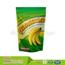 Benutzerdefinierte Größe Logo gedruckt Kunststoff Lebensmittel getrocknet Bananenchips stehen oben Beutel Verpackung