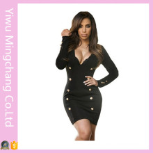 Plus Size Women Sexy Semi Formal Black Dresses with Buttom