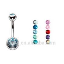 Double Jeweled beads Anéis Barbell do umbigo Piercing Jóias