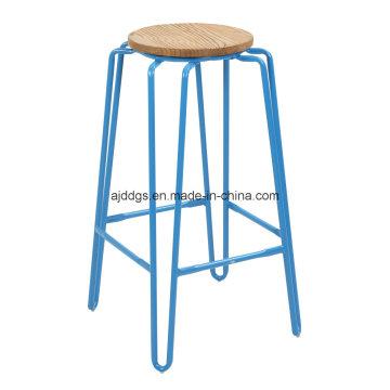 Деревянный кресло железа трубка высокого раунд барный стул (dd-1030)