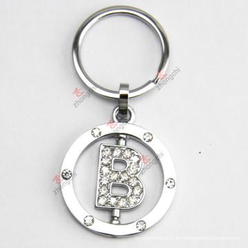 Rotierbares Buchstaben-Metall Keychain mit Rhinestone für Geschenk