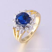 joyería de guangzhou anillo plateado dos tonos con circonita de zafiro