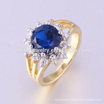 guangzhou jewelry two tone plated ring with sapphire zircon