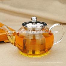 Круглая 900 мл Handblown Боросиликатного чай оптом стеклянные чайники