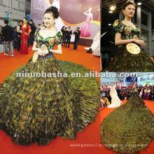 NW-260 Noble Boutique Embrodery Bodice com Stunning Pavão Feather Skirt Vestido de Noiva