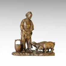 Восточная статуя Счастливая жизнь в деревне Бронзовая скульптура Tple-029