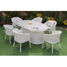 2017 Durable Polyethylene Rattan Powder Coated Aluminum Frame Dining Set for Outdoor Furniture