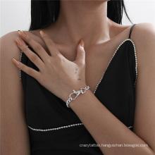 European and American Fashion Jewellery Silver Jewelry Big Lock Silver Punk Hip Hop Ins Cuba Single Layer Chain Bracelet for Women