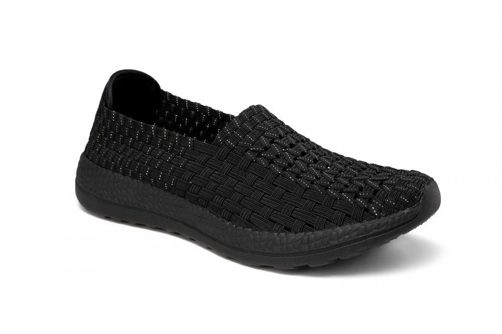 Black Elastic Woven Hollow Work Shoes