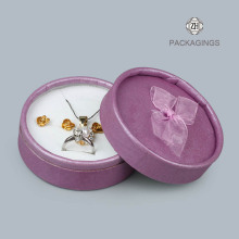 Purple custom round rings boxes with lids