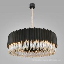 luxury hanging round black modern led pendant light chandelier for home hotel living room