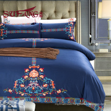 5 star Long Staple Cotton Sateen Bed Sheet Set 100% cotton embroidery 60s