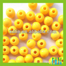 wholesale plastic yellow solid beads acrylic round beads