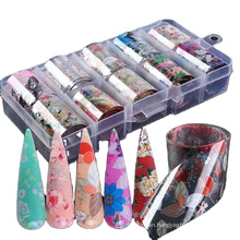Wholesale Designers Boxed Floral Beautiful Starry Sky Foil Nail Wraps Transfer Nail Art Stickers 2021 Foils For Nails