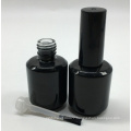 custom made empty uv gel black cosmetic glass nail polish bottle 15ml