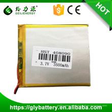 Bateria do Li-íon da bateria da tabuleta, 3.7V 3500mAh Bateria recarregável do polímero do lítio de 408090 para o PC da tabuleta, E-livro