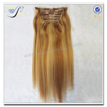 Wholesale high quality clip in hair extension piano color 100% virgin human hair