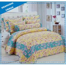 Edredón de cama con estampado de algodón de flores de 6 piezas (juego)