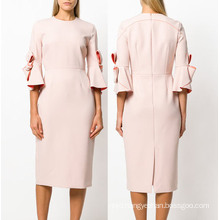Elegant Half Sleeve Woven Pencil Dress with Bowknot Sleeves