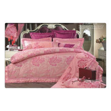 Tencel / jacquard de algodão + bordado luxo conjunto de roupa de cama