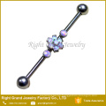 Surgical Steel Prong Set Purple Synthetic Fire Opal Flower Industrial Barbell Piercing