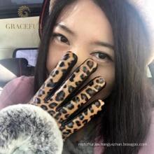 Guantes de piel estilo aristocrático leopardo sólido reputación sólida