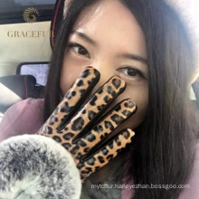Solid reputation warm leopard aristocratic style fur gloves