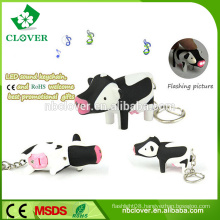 Cow design 2 led ABS material fashion led keychain flashlight torch