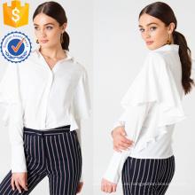 Nueva blusa blanca de manga larga amplia camisa de verano blusa de fabricación al por mayor de prendas de vestir de las mujeres de moda (TA0042B)