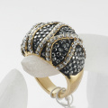 shining full rhinestone finger ring for woman luxurious fashion new gold plated