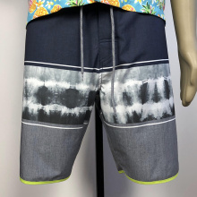 custom Black grey patterned male beach shorts