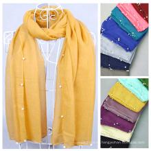 Venta de la fábrica hijab moda árabe bufandas con cuentas bufanda patrón al por mayor hijab con perlas