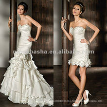 Strapless satin fit-and-flare beaded sweetheart neckline wedding dress